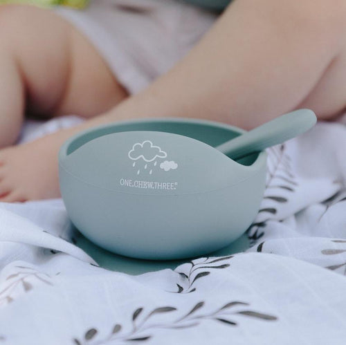 SILICONE SCOOP BOWL AND SPOON SET BLUE CLOUDS