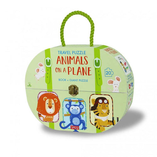 GIANT PUZZLE AND BOOK - ANIMALS ON A PLANE