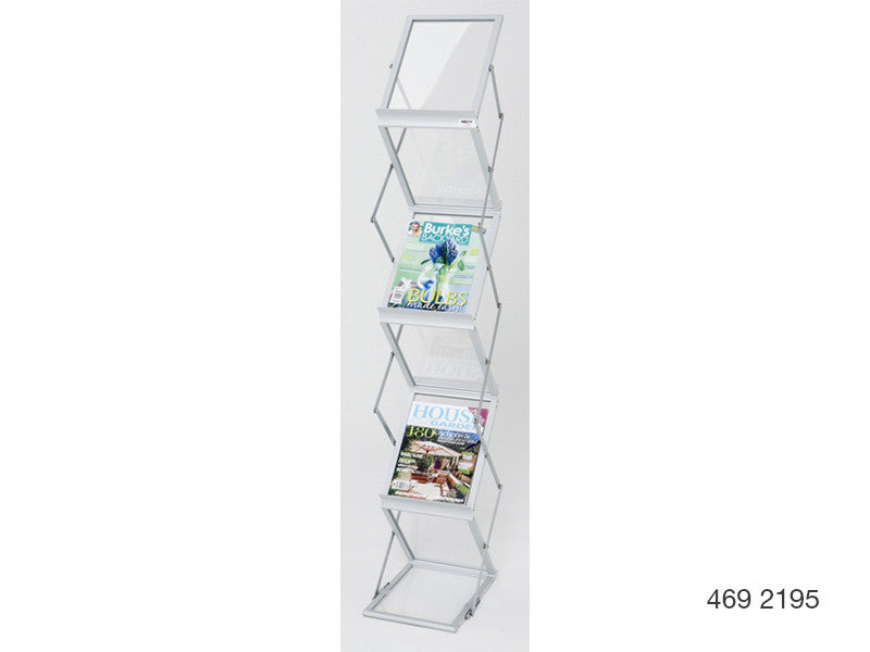 A4 Mobile Display and Exhibition Floor Stand - Frosted Acrylic Shelves