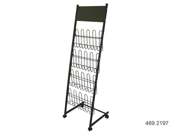 A4 Mobile Display and Exhibition Floor Stand - Wire Shelves