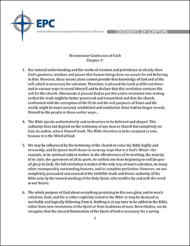 Synopsis of the EPC Statements on Scriptures (PDF Download)