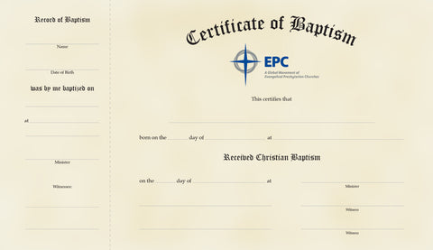 Baptism Certificates  Adult  Epc Resources