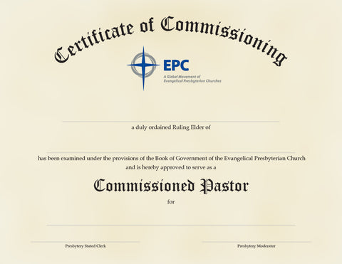Certificate of Commissioning for Commissioned Pastors