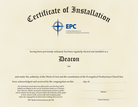 Certificate of Installation for Deacons