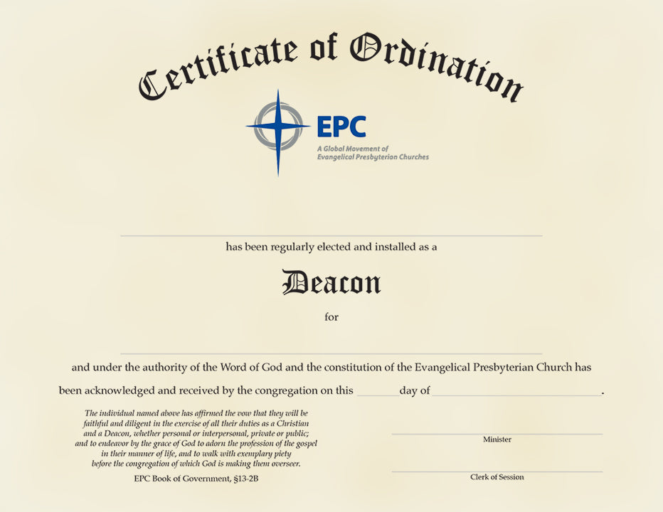 Certificate of Ordination for Deacon – EPC Resources