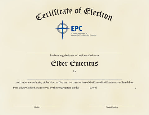 Certificate of Election for Elder Emeritus