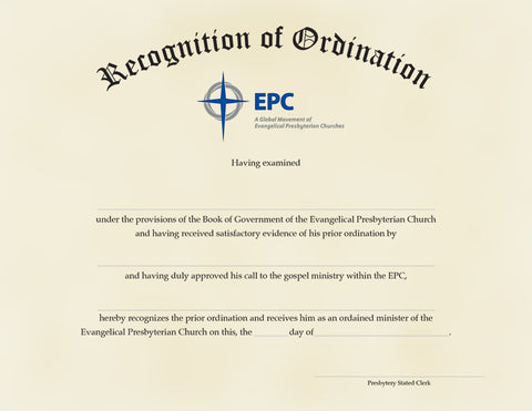 Certificate for Recognition of Ministerial Ordination, Male