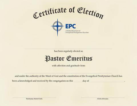 Certificate of Election for Pastor Emeritus