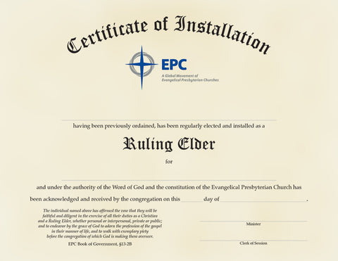 Certificate of Installation for Ruling Elders