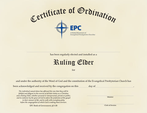 Certificate of Ordination for Ruling Elder