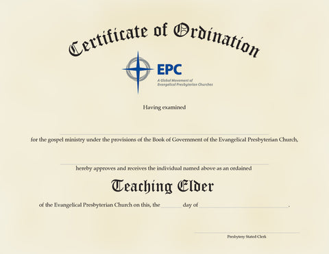 Certificate of Ordination for Teaching Elder