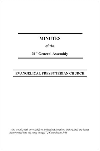Minutes of the 31st General Assembly (Downloadable PDF Format)