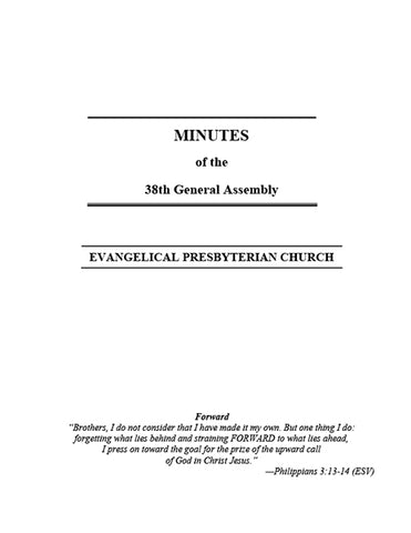 Minutes of the 38th General Assembly (Downloadable PDF Format)