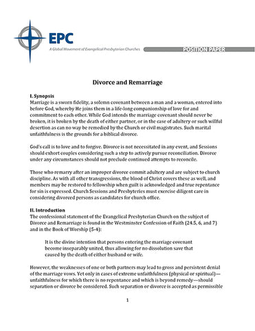Position Paper on Divorce and Remarriage (Downloadable PDF Format