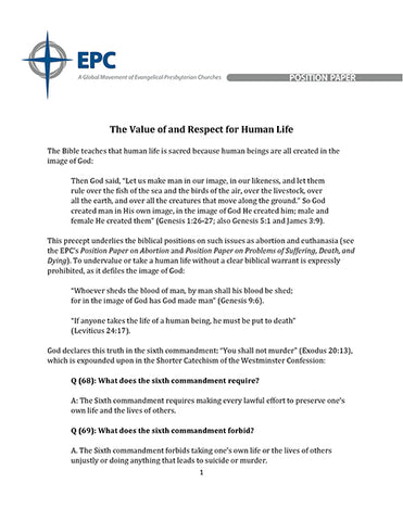 Position Paper on the Value of and Respect for Human Life (Downloadable PDF Format)