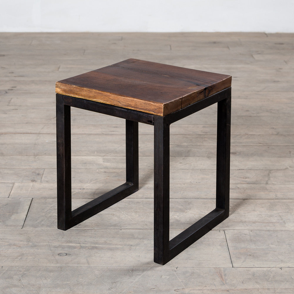 Cordova reclaimed wood iron side table the spotted door for Iron and wood side table