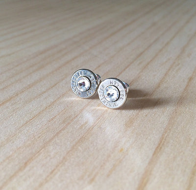Silver Bullet Earrings with Swarovski Crystals