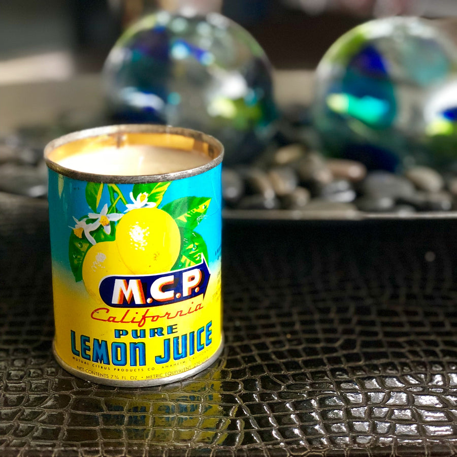 Vintage Lemon Juice Can Citrus Candle
