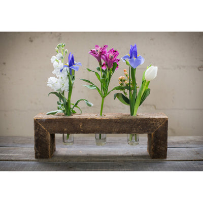 Three Bottle Floating Wood Flower Stand