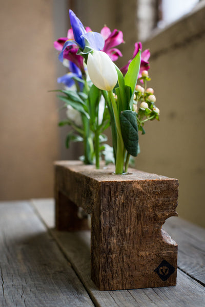 Floating Wood Flower Stand with Three Bottles