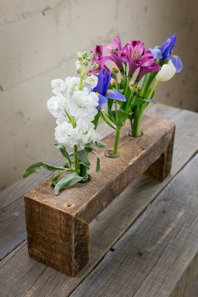 Three Bottle Reclaimed Wood Flower Stand