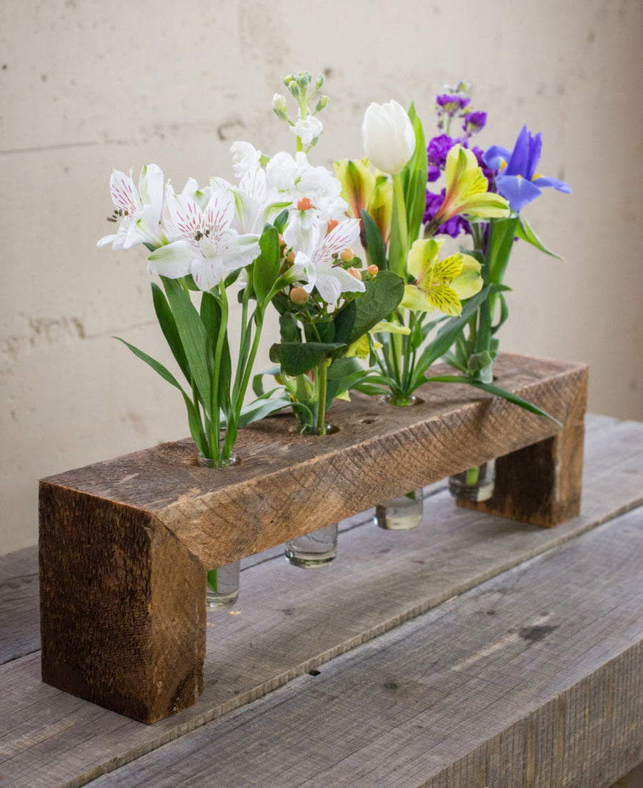 Four Bottle Floating Wood Flower Stand