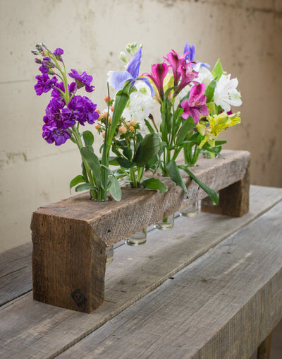 Five Bottle Wood Flower Stand