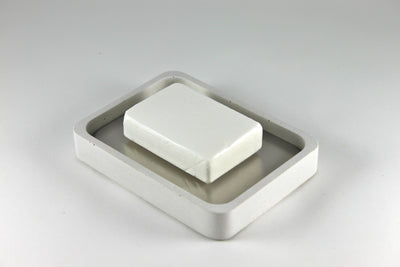 White Recycled Concrete Soap Dish