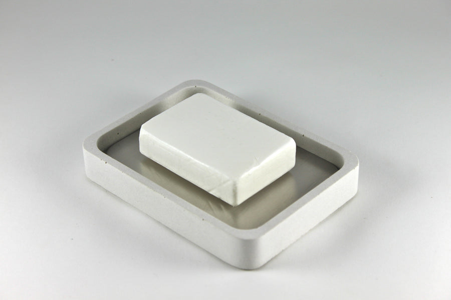 Concrete + Stainless Steel Soap Dish (White)