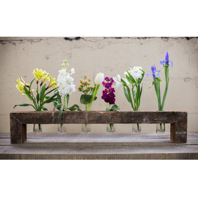 Six Bottle Floating Wood Flower Stand