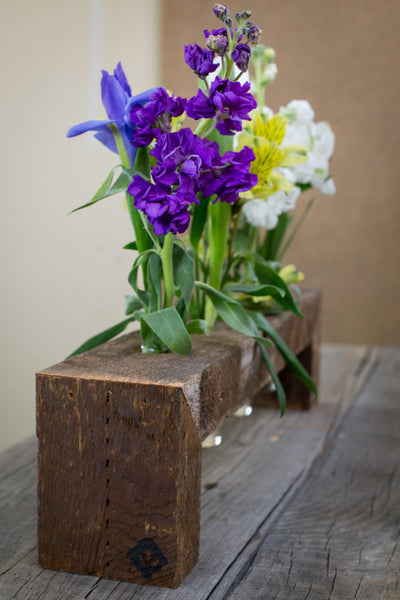 Six Bottle Reclaimed Wood Flower Stand