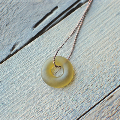 Amber Glass Bottle Ball Chain Necklace