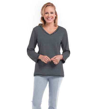 Aster Women's Long Sleeve Grey Stripe Top