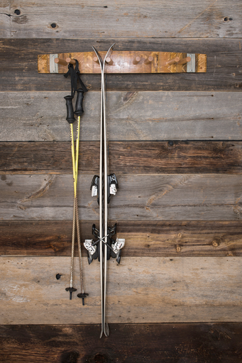Ski Rack From A Barrel Stave