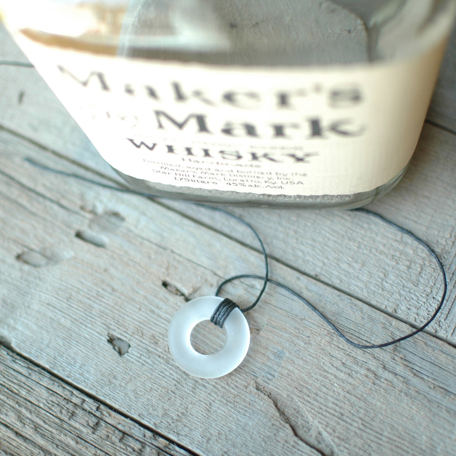 Maker's Mark Bottle Hemp Necklace Sea Glass