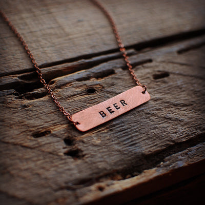 Recycled Copper Hand Stamped Beer Necklace