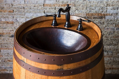 Copper Wine Barrel Vanity