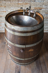 Dark Walnut Wine Barrel Vanity with Hammered Nickel Sink