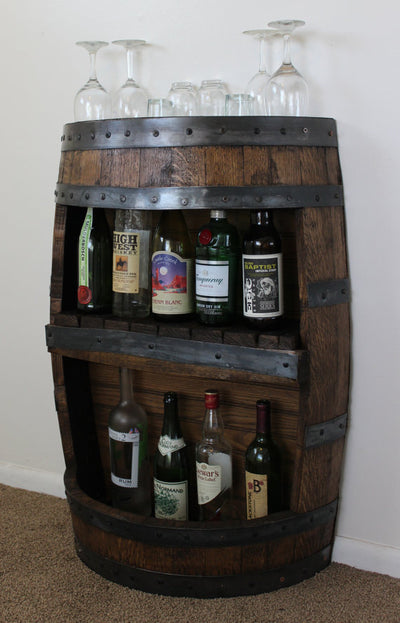Whiskey Barrel Bar with Shelf