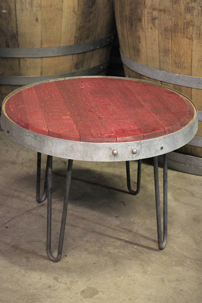 Red Wine Barrel Head Side Table