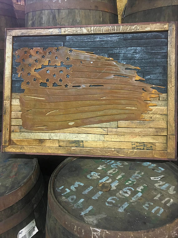 American Flag Metal Art on Barrel Staves