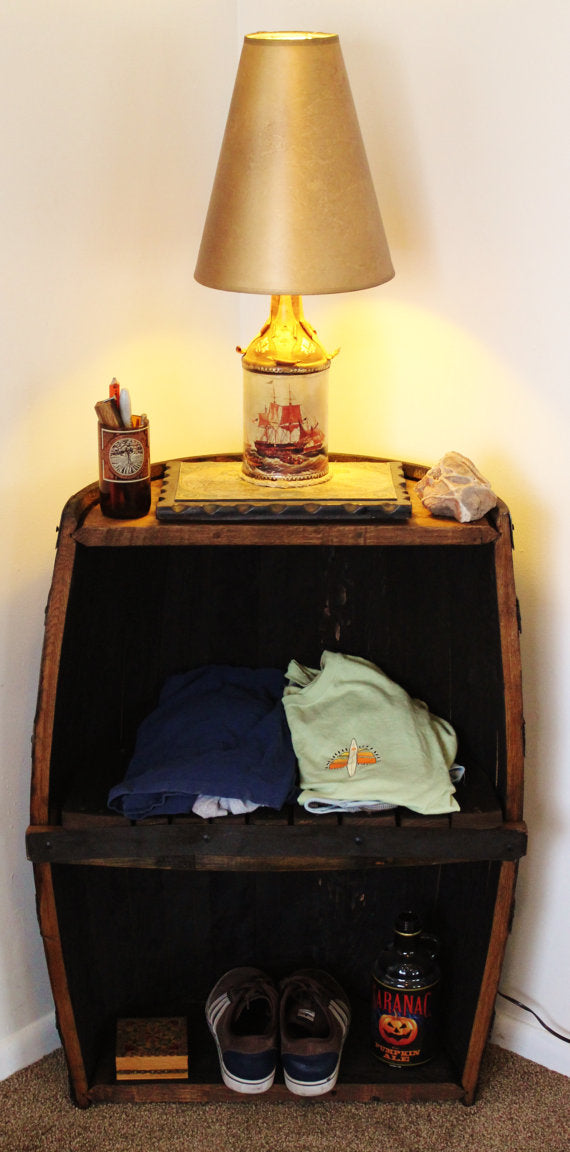 Half Whiskey Barrel Storage Shelf