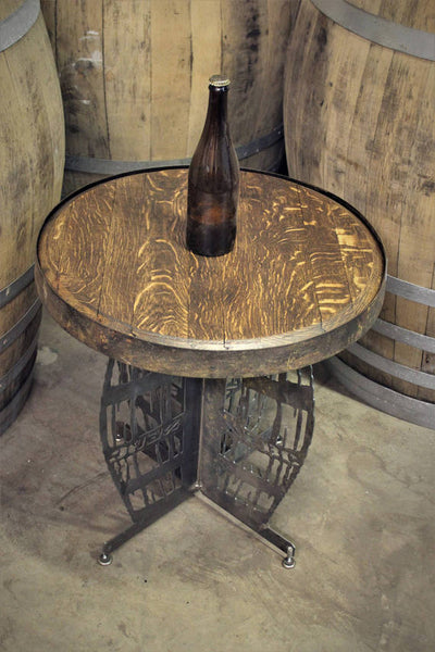 Wine Barrel Table with Steel Barrel Frame Base