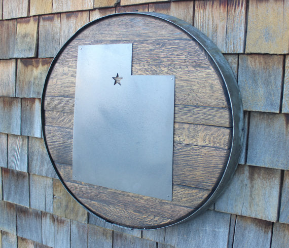 Choose A State Custom Metal on Whiskey Barrel Lid