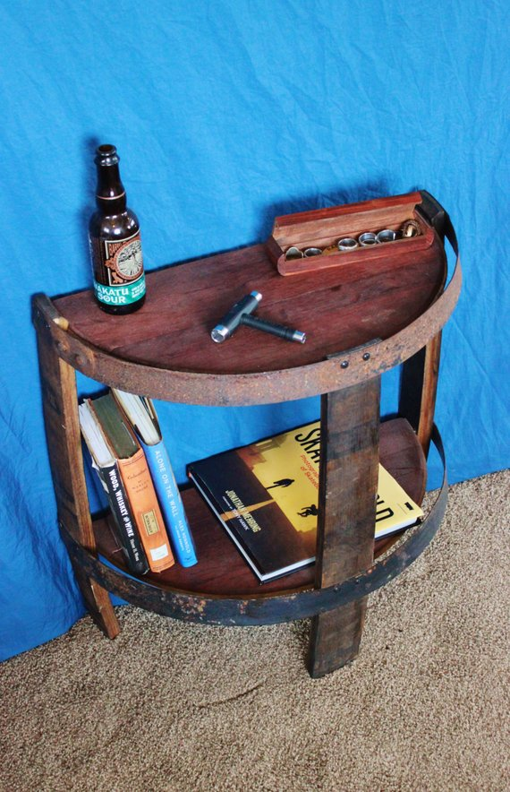 Whiskey Half Barrel Open End Table The Spotted Door