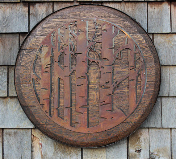 Aspen Trees Metal Carving on Whiskey Barrel Head