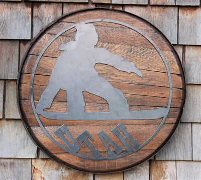 Snowboarder Metal Art on Whiskey Barrel Head