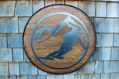 Metal Skier Mountain Scene on Whiskey Barrel Lid