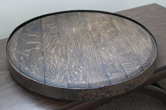 American Oak Wine Barrel Lazy Susan