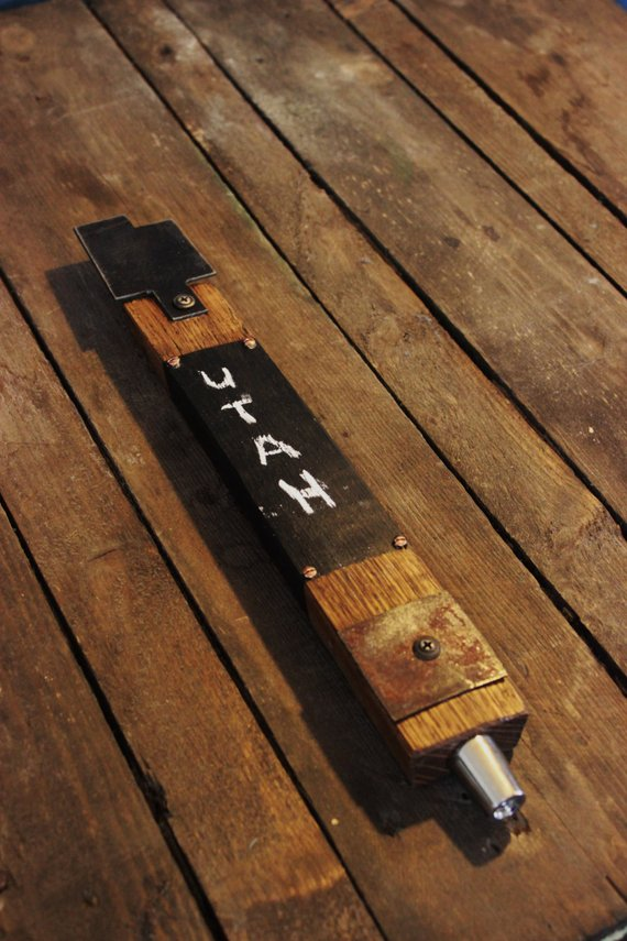 Custom Utah Whiskey Barrel Stave Tap Handle